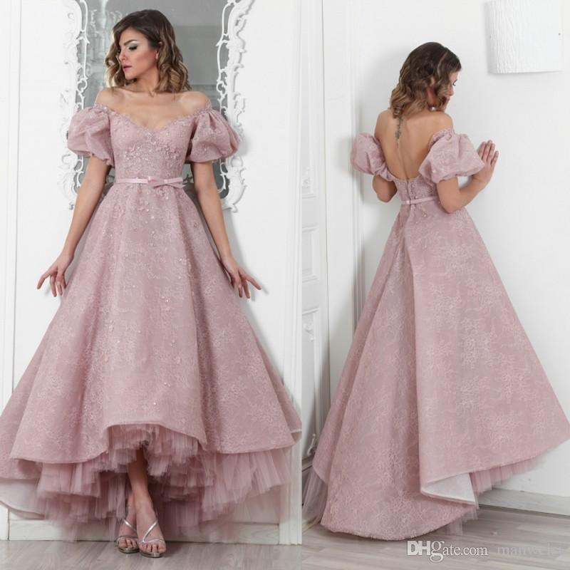 Maison Roula 2018 Off Shoulder Prom Dresses Backless Lace Applique Beads High  Low Evening Gowns Short Sleeves Crystal Party Dress Peach Prom Dresses Pink  ... 5cf200d67c81