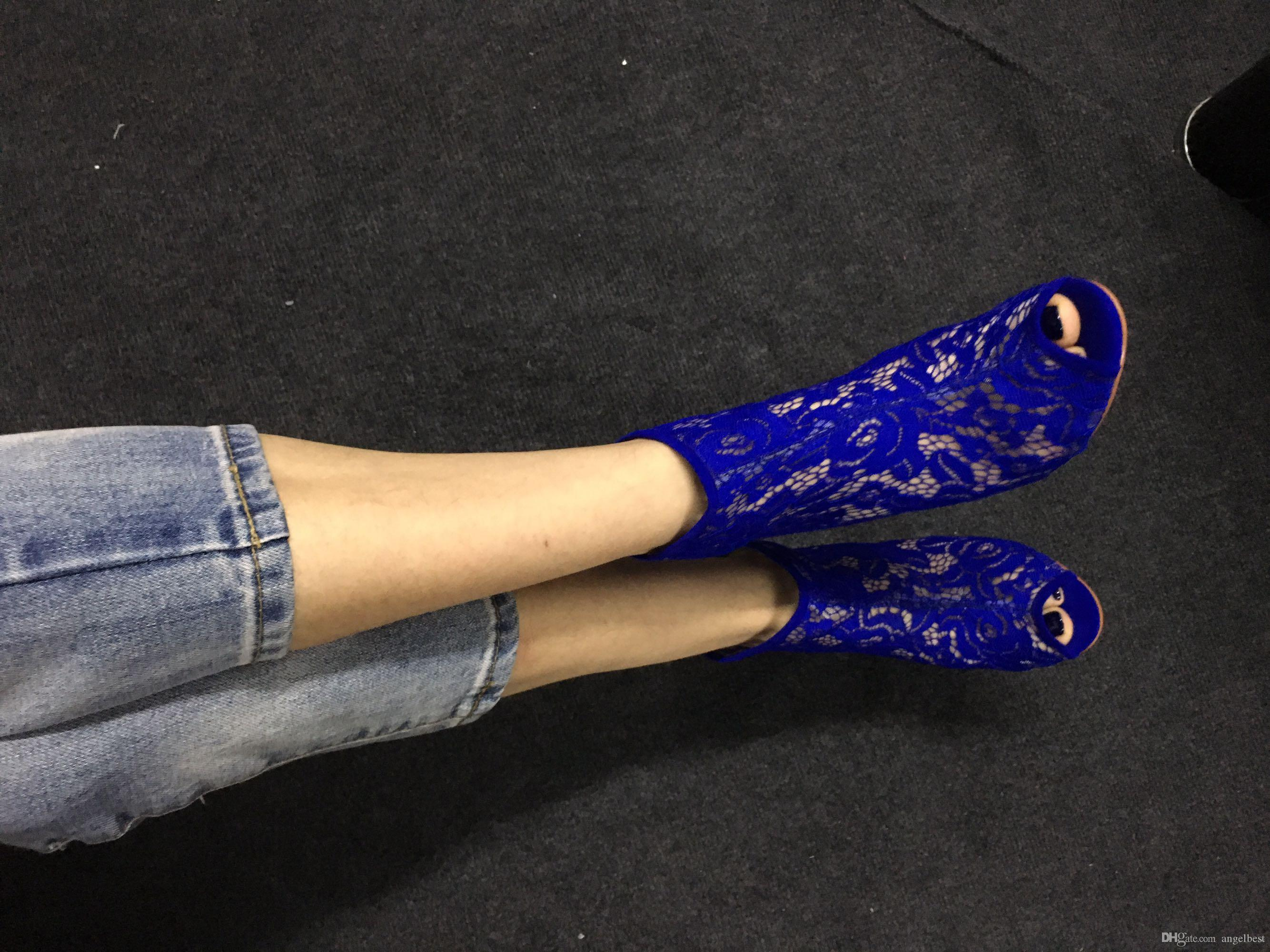 factory on sale open toe high heel lace ankle boots women back zipper spring autumn boots fashion sexy party dress shoes