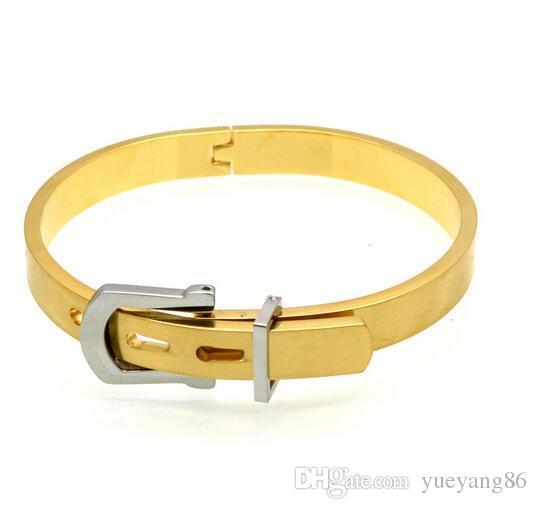 Мода дизайн мужской подарок ювелирных изделий 3 Цвет регулируемый манжеты Браслет из нержавеющей стали хороший ремень пряжка дизайн браслет