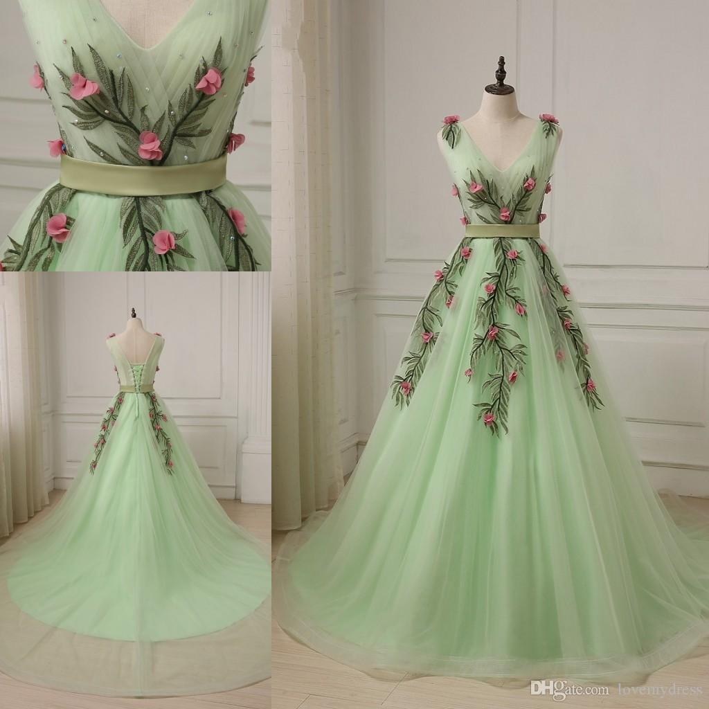 618342003ded 2018 Spring Green V Neck A Line Prom Dress Long Embroidery Corset ...