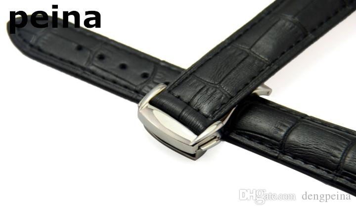 22mm New High Quality Black And Brown Genuine Leather Watch Bands With Stainless Steel Deployment Clasp For Omega Watch