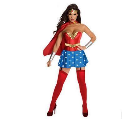 Оптовая Взрослых Женщин Хэллоуин Чудо Женщина Косплей Сексуальный Костюм Супергерой Необычные Платья С Плащом Бесплатная Доставка