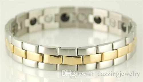 DFJ019 Highly polished stainless steel magnetic energy health care black gold silver rose gold bracelets for men