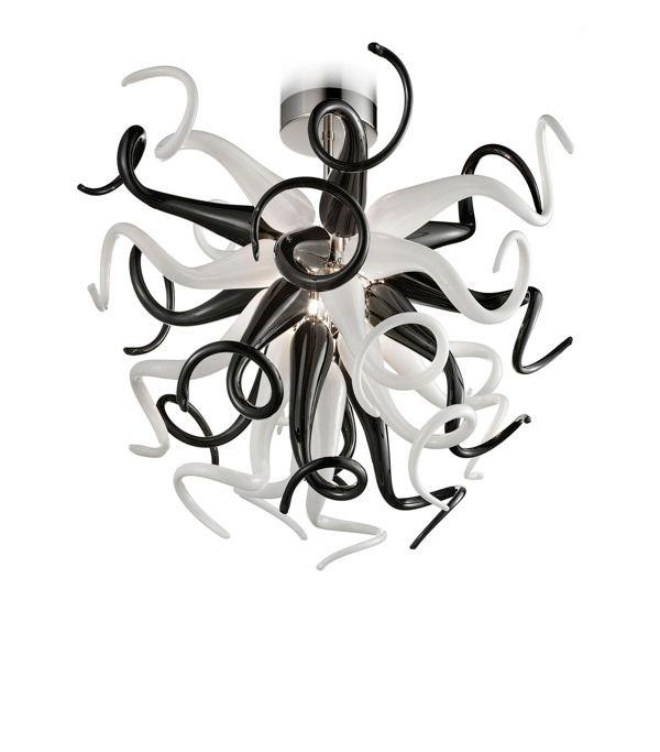 Moderne Certificat CE / UL Blanc et Noir LED Lustre Art Décoration Appareils d'éclairage Soufflé À La Main En Verre De Murano Lampe Suspension