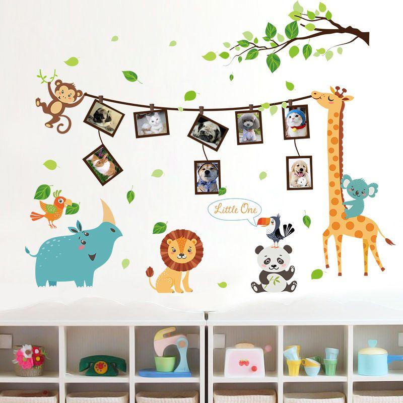 115cm X 90cm Happy Animals Photos Frames Wall Decal Pvc Home Sticker ...