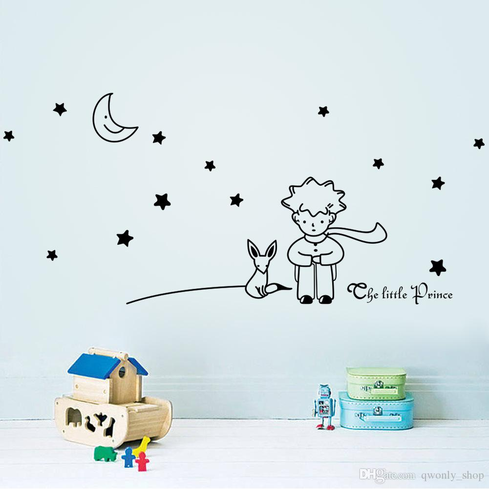 Stars Moon The Little Prince Fox Graphic Wall Stickers Children Fairy Tale Wall Decals for Kids Room Nursey Room Decor Poster