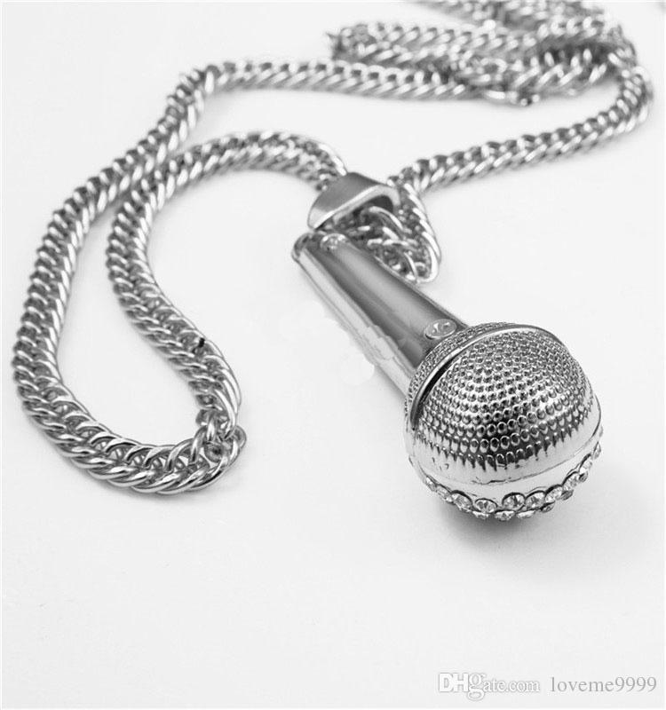 Высокое качество женщин мужские хип-хоп 24k позолоченный рэппер Кристалл микрофон микрофон DJ подвески рок змея цепи ожерелья ювелирные изделия