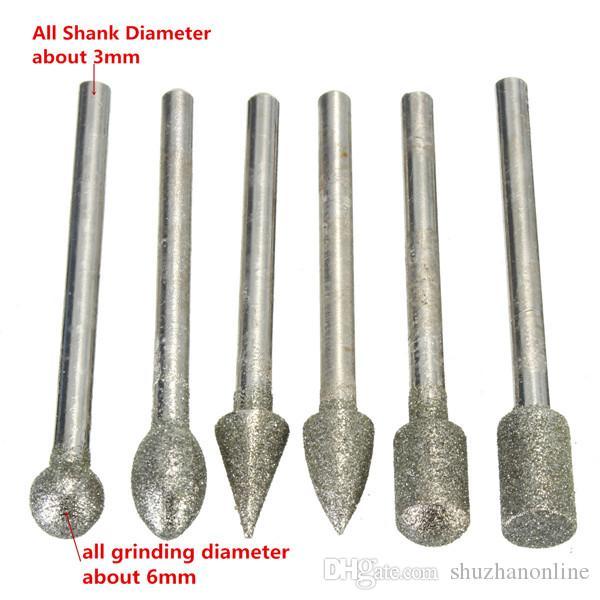 3 mm vástago de diamantes molienda Burr Drill Bits conjuntos para Dremel herramientas rotativas