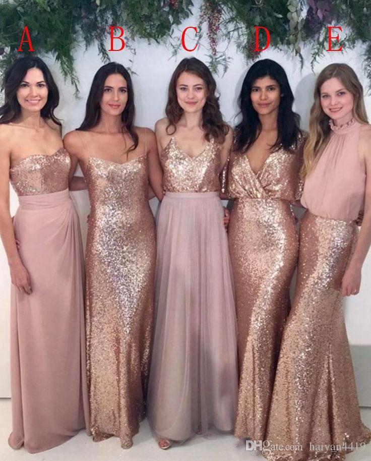 Onur törenlerinde 2020 Arapça Bling Pullarda Gelinlik Modelleri payetli Mix Stil İçin Düğün Misafir Elbise Gül Pembe Dusky Pembe Şifon Hizmetçi