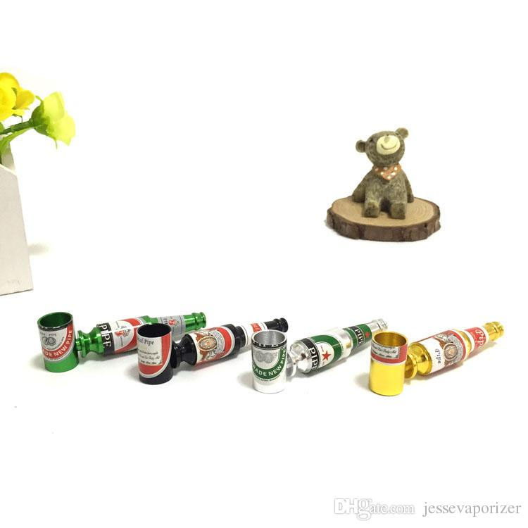 2016 Creative Portable Beer Bottles Shaped Rasta Tobacco Pipe Metal Aluminum Smoking Pipes For Good Gift Accessory Wholesale