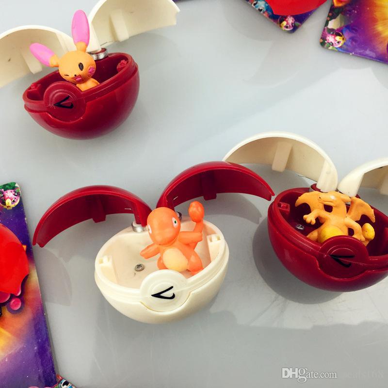 12 pçs / set New Go Bola Brinquedos Das Crianças Dos Miúdos 5 Cm Cosplay Dos Desenhos Animados Filme de Ação Jogos Figuras de Plástico Brinquedos Com Cartão de Presentes de NATAL GD-T14