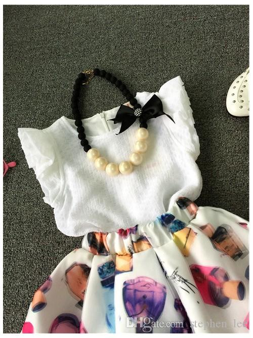 Retail 2016 Summer Baby Girl White Sleeveless Vest Tops+Perfume Printed Tutu Skirt Sets Girls Suits Kids Outfits Children Clothing Set