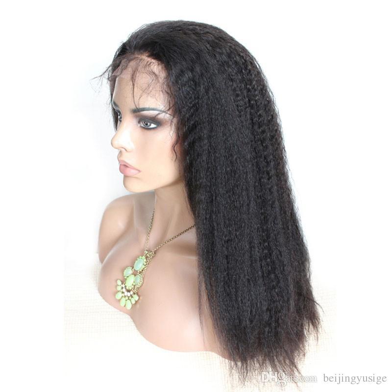 """Brazilian Hair Full Lace Wigs For Black Women Kinky Straight Human Hair Wigs 10""""-26"""" Full Lace Brazilian Italian Coarse Yaki Wig"""