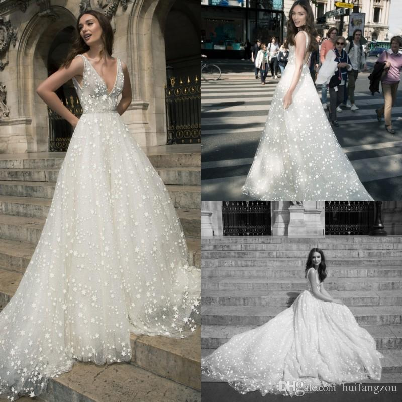a21709fb17 Discount Unique Wedding Dress A Line Star Applique Crystals Dresses V Neck  Full Sequins Elegant Sleeveless Backless Custom Made Wedding Dresses Brides  ...