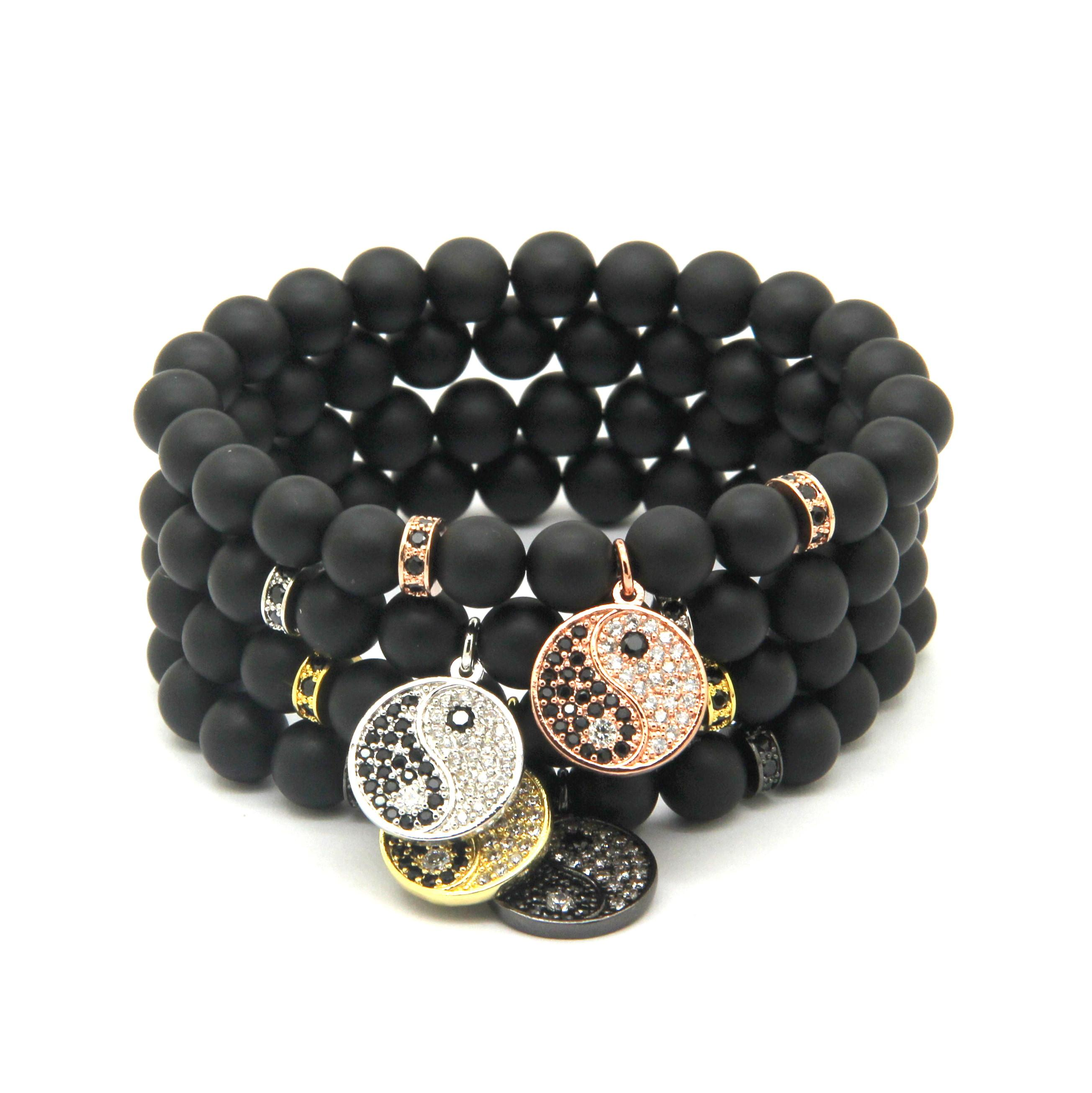 ball black onyx bracelet products gem gold with matte plated square crystal