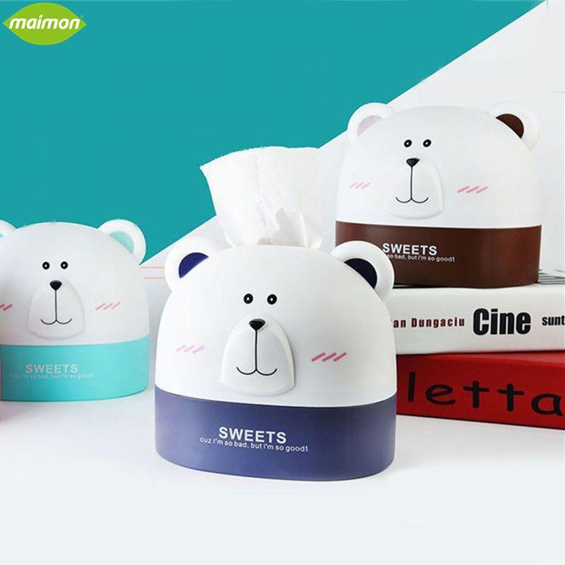 Whole Cute Polar Bear Roll Paper Holder Cartoon Storage Box Home Office Desktop Plastic Tissue Container Hanging Organizer By Sakuna