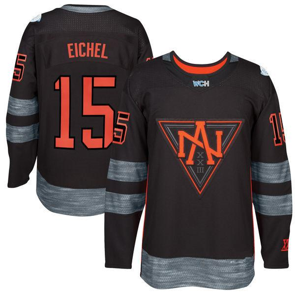 b90b68454 2019 North America Hockey Jersey 2016 World Cup 15 Jack Eichel Jersey  Buffalo Sabres Ice Black Color Blue White For Men All Stitched New Style  From ...