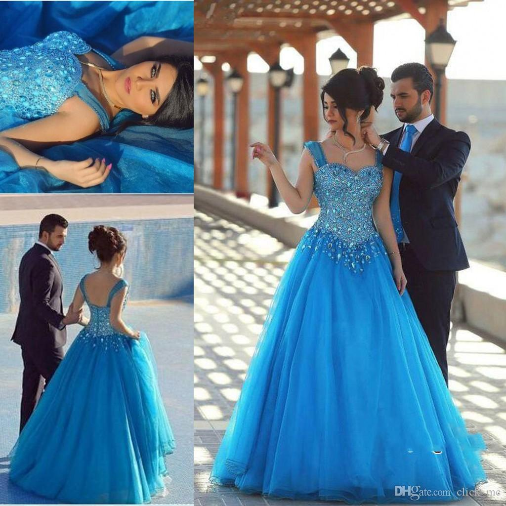 Arabic Ice Blue Prom Dresses Major Beading Sweetheart Crystals Tulle ...