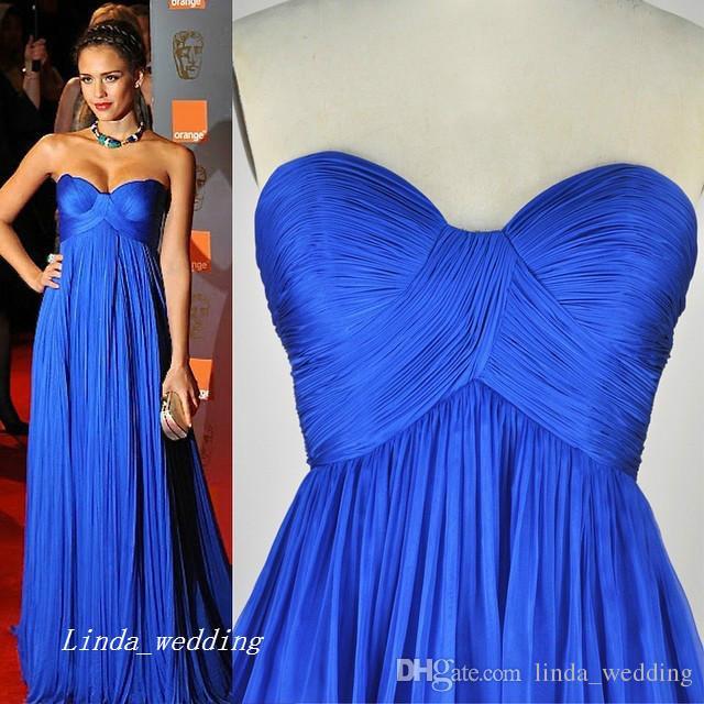 Бесплатная доставка Джессика Альба Стиль 2019 вечернее платье новый королевский синий шифон вечернее платье Celeybrity платье