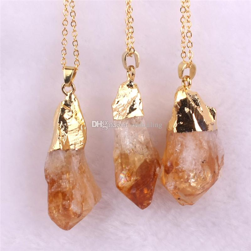 Irregular Handmade Raw Unpolished Amethyst Citrine Crystal Pendant Vintage Gold Plated Quartz Gemstone Necklaces Natural Stone Jewelry Gifts