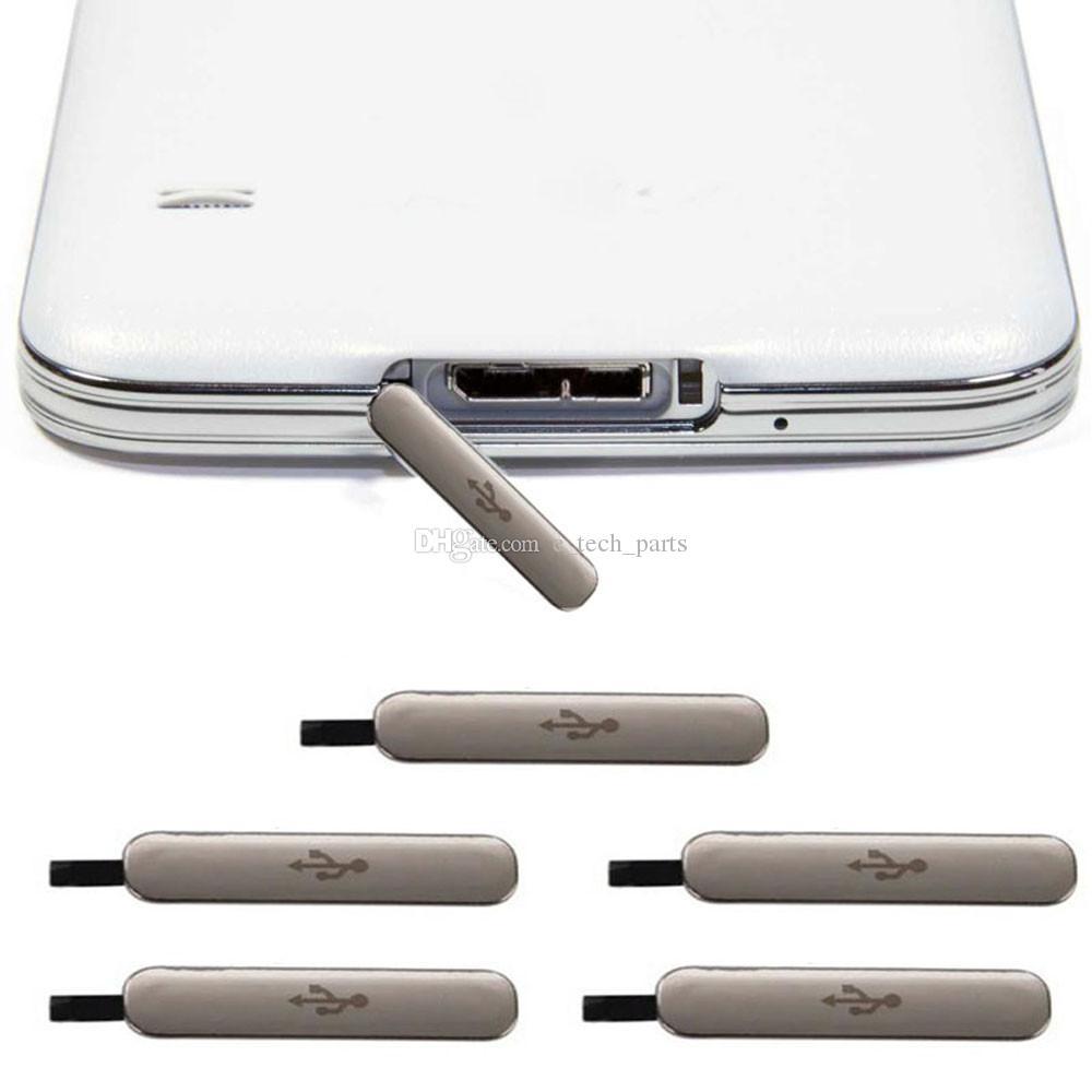 2 stücke Original USB Ladeanschluss Stecker Block Wasserdicht Abdeckung Zurück Kamera objektiv Für Samsung Galaxy S5 I9600 G900A G900T VS G900P G900F