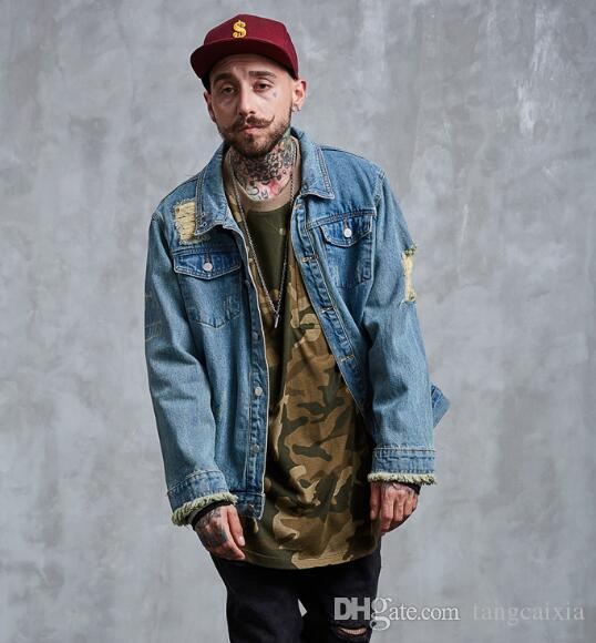 Wholesale Men Casual Ripped Denim Jacket Fashion Painting Print