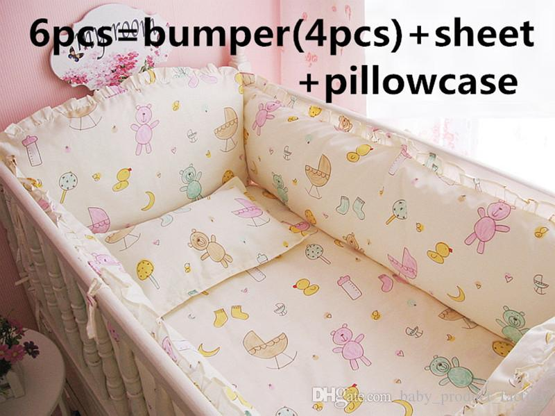 Promotion! 6PCS Baby crib bedding set 100% cotton bedclothes bed decoration (bumpers+sheet+pillow cover)