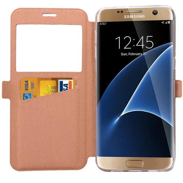Samsung Galaxy S7 / S7 Kenar Not 7 Bling Glitter Pencere görünüm Cüzdan Samsung S 7 Için Kredi Kartı Flip Kılıfları Standı Kapakları