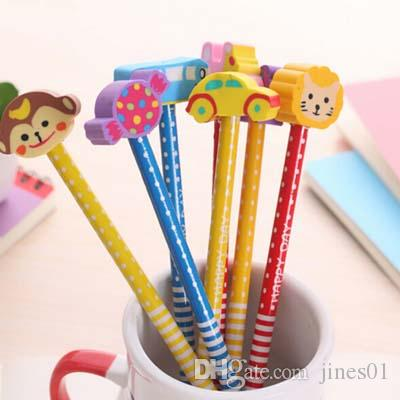 Lovely Pencils With Cartoon Eracer Cute Children Kid Pencil School Office Supplies Cute Prize Gifts Creative