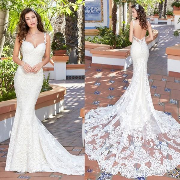f1560adad55f Kitty Chen 2017 Mermaid Wedding Dresses Backless Spaghetti Neck Full Lace  Applique Bridal Gowns Court Train Cheap Wedding Dress Latest Wedding Dresses  2015 ...