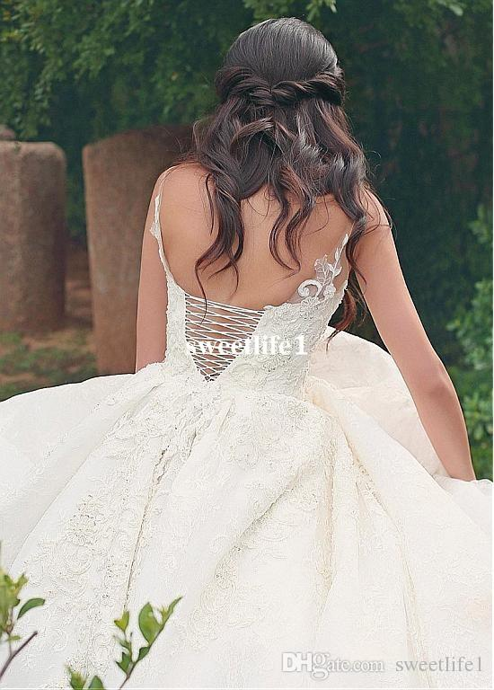 Said Mhamad 2019 Spaghetti Straps Bridal Gown Full Lace A Line Back Lace Up Wedding Dresses For Garden Court Train Custom Made
