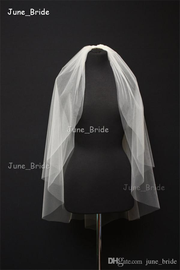Elegant Soft Tulle Pure Cut Edge Shoulder Length with Comb Two Layer White Ivory Wedding Bridal Veil Factory Custom Made