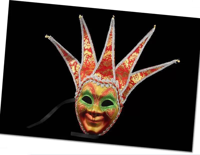 Горячая новинка партия Шут/веселый Венецианский Хэллоуин Маска Венецианский Маскарад Маска цвет живопись анфас Маска костюм для вечеринок
