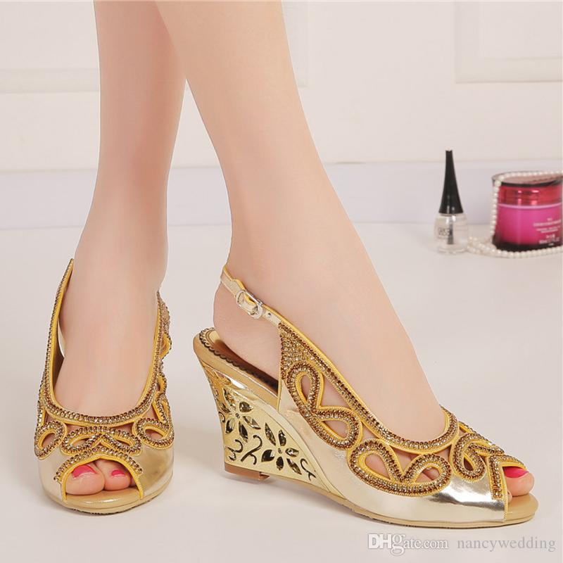 3 Inches Wedge Heel Summer Sandals Peep Toe Rhinestone Wedding Bridal Shoes Gold Crystal Slingback High Heel Party Prom Shoes