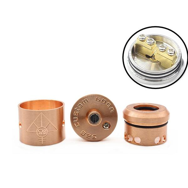 Newest 528 CUSTOM GOON RDA Rebuildable Dripping Atomizer Peek insulators Large space wide bore drip tips goon 528 Atomizer Fit Vape mods
