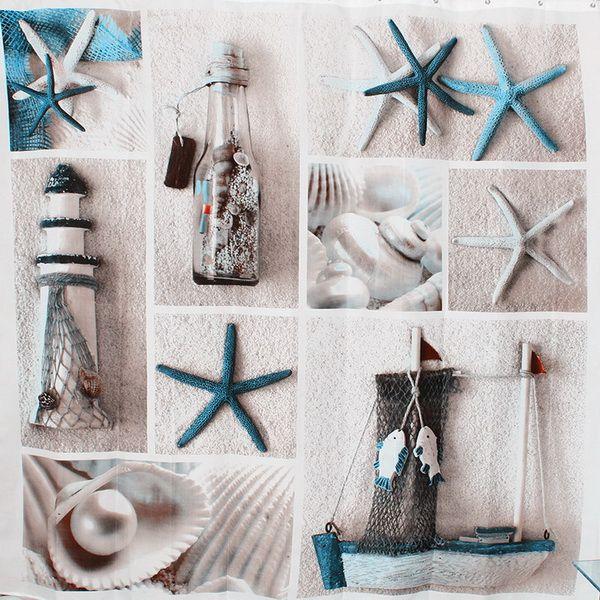 Tecido de poliéster terylene azul vida marinha seastar shell à prova d 'água cortinas de chuveiro engrossar cortina cortinas do banheiro tamanho180x180 cm