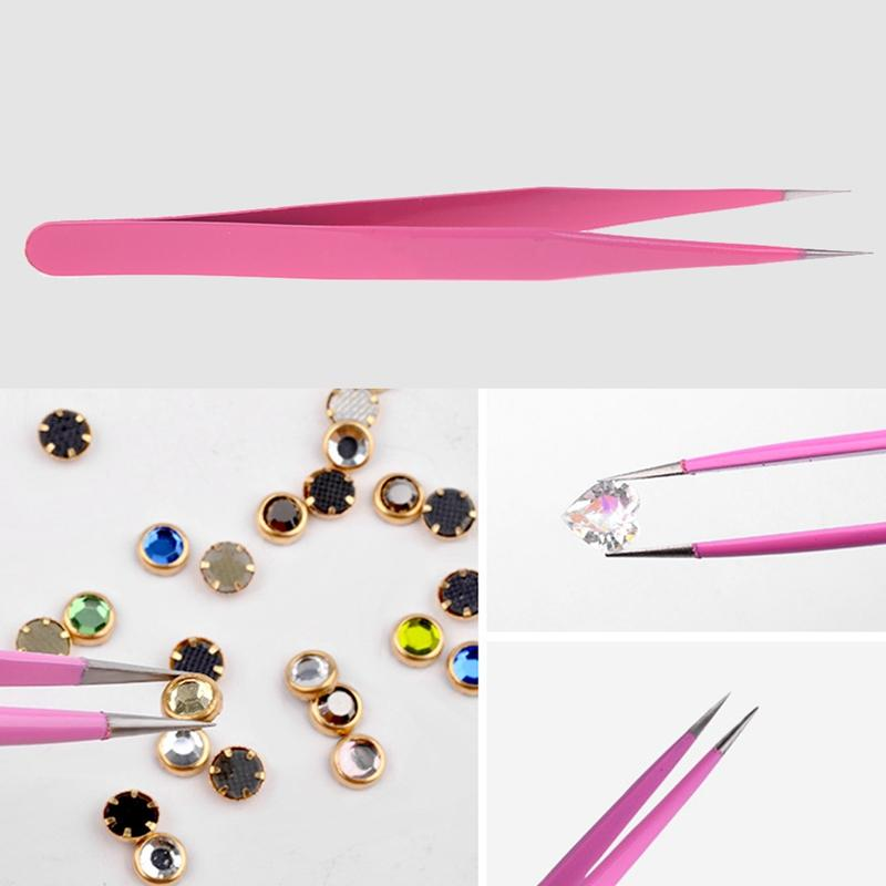 Straight + Pinzas curvadas Herramientas de uñas Nail Pink Nipper para Picking Nail Rhinestones Decoraciones Sticker Herramientas Extensiones de pestañas