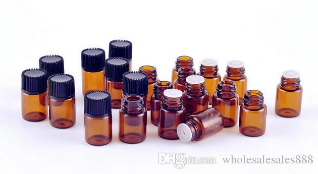 Fabrika Fiyat 2 ml Amber Cam Uçucu Yağ Şişesi ile Orifis Redüktör ve Siyah Kap, Mini Örnek Cam Parfüm Şişesi