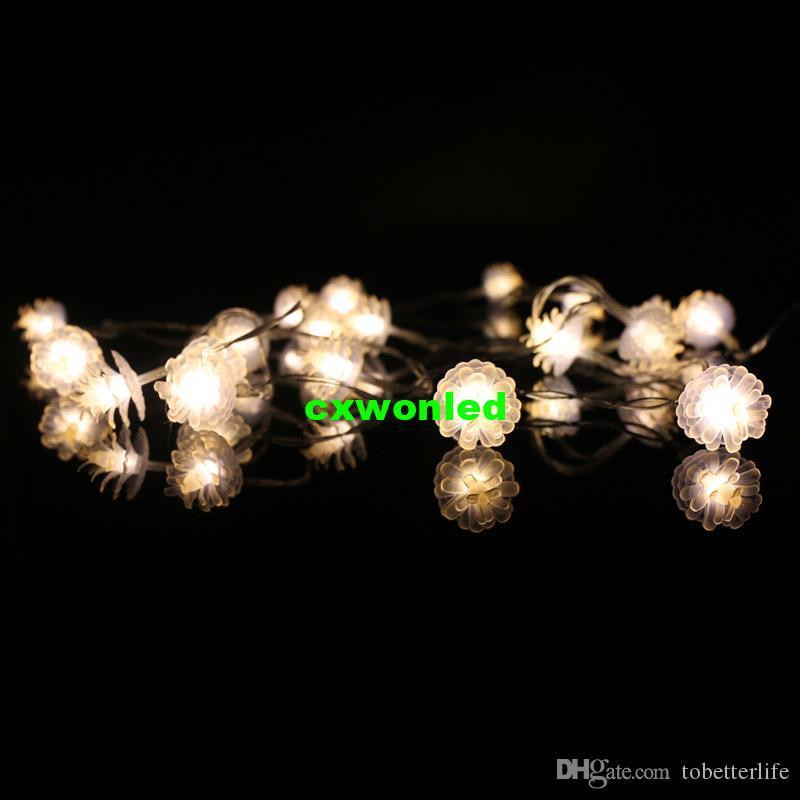 أضواء عيد الميلاد الصنوبر شكل مخروط لطيف جميل الصمام سلسلة الأنوار زهرة الأزهار 2M 20 المصابيح الدافئة الأبيض بطارية أضواء حفل زفاف مهرجان