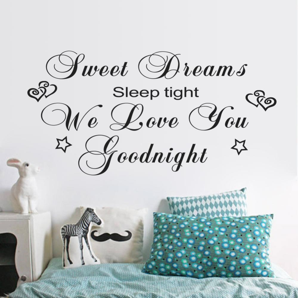 sweet dreams wall sticker quotes art mural bedroom love you sweet dreams wall sticker quotes art mural bedroom love you goodnight vinyl wall decal home decoration home decor wall tattoos decals wall to wall decals
