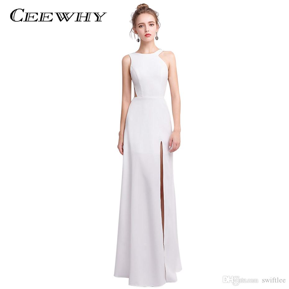 0dcc2d5cc Compre CEEWHY Vestido Formal Blanco Satinado Vestido De Fiesta Vestido De Fiesta  Vestido De Noche O Cuello Sirena Vestidos De Noche Robe De Soiree Longue A  ...