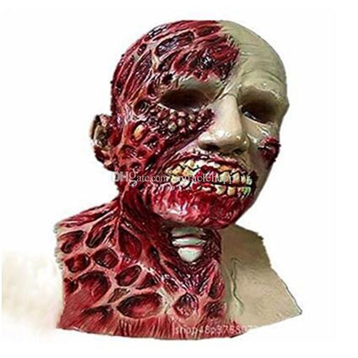 Horror Halloween Biochemical Crisis Cosplay Latex Costume Bloody Zombie Mask Melting Full Face Walking Dead Scary Party Masks