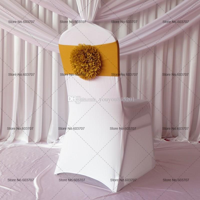 Бесплатная доставка золото / Королевский Буле / красный / серебряный большой подсолнечника спандекс стул группа / лук для свадьбы декор