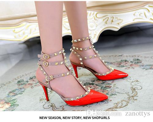 2017 Valentine Garavani Studs pumps genuine leather High-heeled shoes women's shoes Sandals shoes woman 35-42