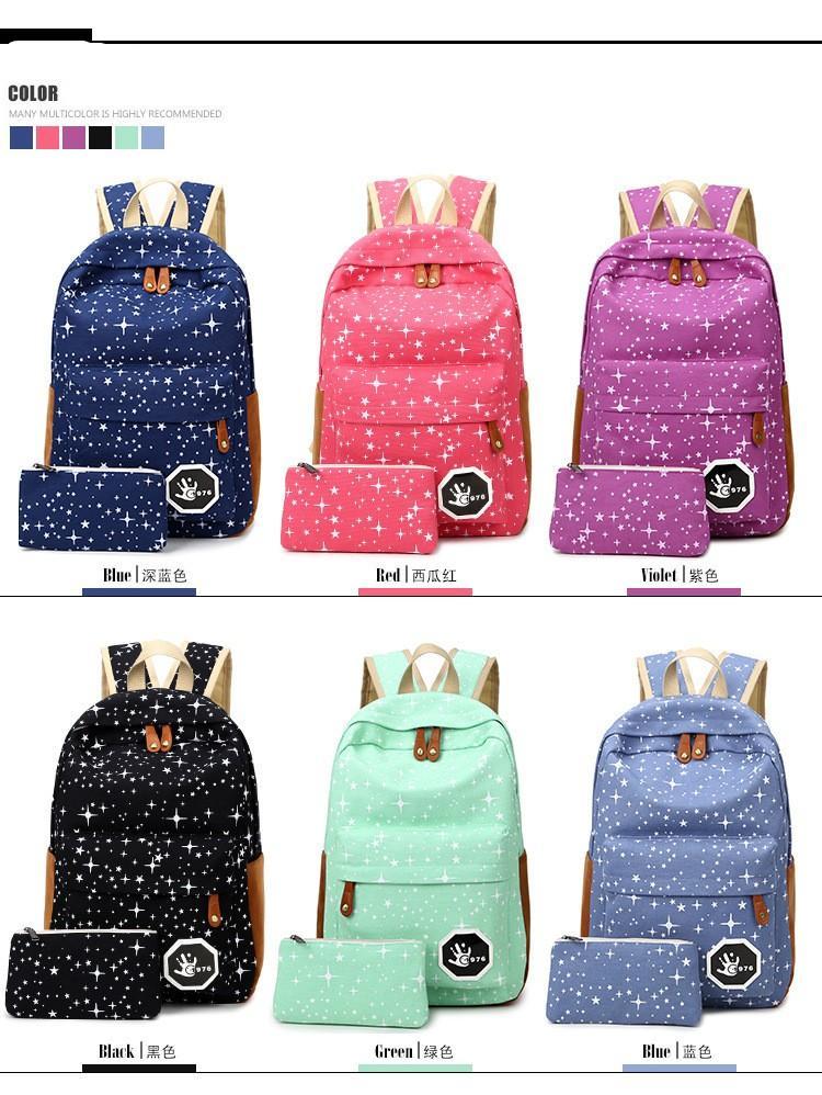 Toptan Kadın Tuval Sırt Çantası Sevimli yıldız Baskı Sırt Çantaları Kızlar Gençler Için Seyahat Okul Çantaları Mochila Omuz Sırt Çantası öğrenci çantaları