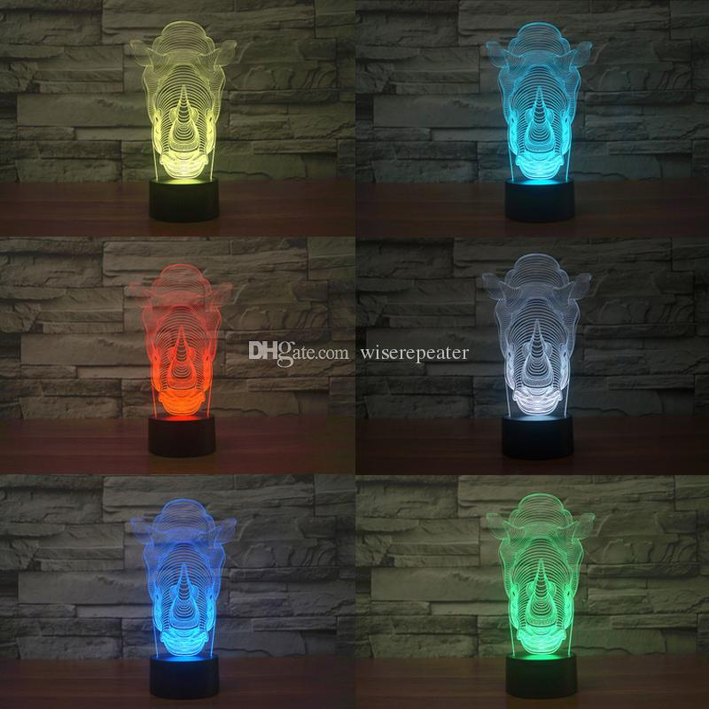 2016 all'ingrosso Rhino 3D luce di notte della lampada ottica di notte 9 LED Night Light DC 5V fabbrica