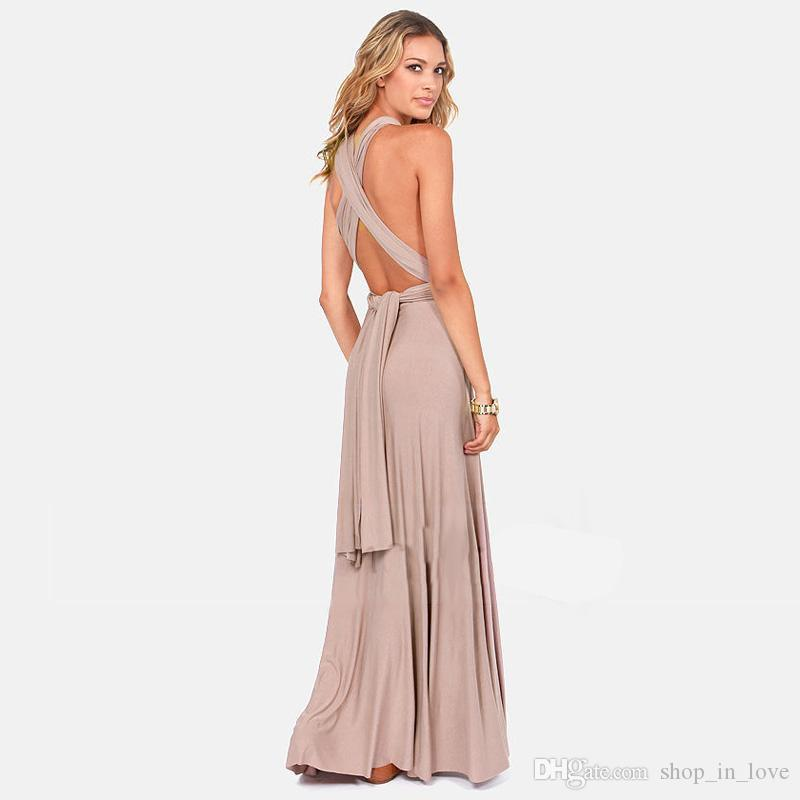 Ladies Women Caasual Fashion Summer Cross Strap Halter Bohemian Sexy Party Long Dress Clothes Clothing 2305