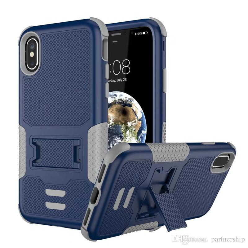 Full-body Rugged Holster Case Military Grade Protective Cover for Apple iphone X / 10 Hybrid Dual Layer Armor Defender Cover with Kickstand