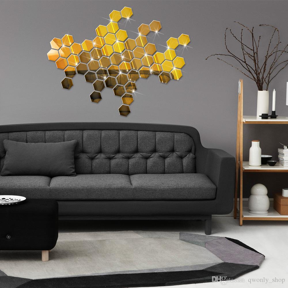 12 unids / set 3D Moderno Espejo Geométrico Hexágono Acrílico Etiqueta de La Pared Arte DIY Espejos Etiqueta de La Pared Home Living Room Decoration