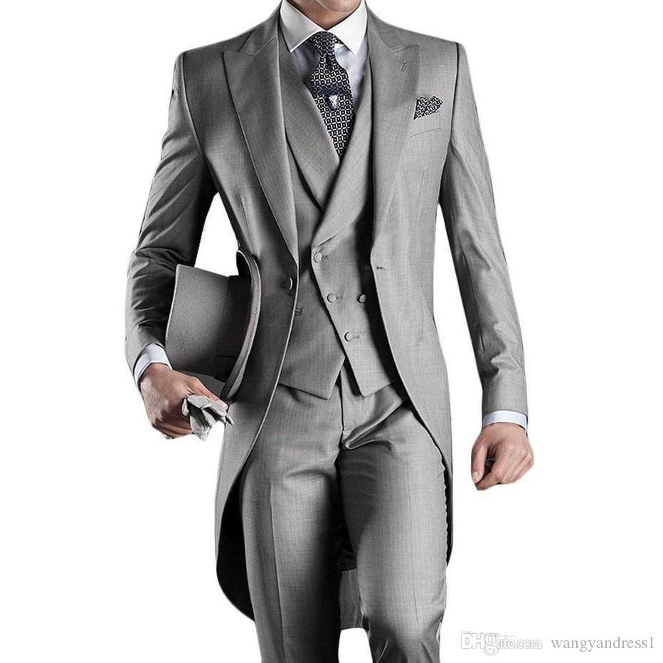 Hot sale Customized Wedding Suits Groom Tailcoat Light Grey Suit Formal Suits Handsome Groomsman suitsJacket+Pants+Vest